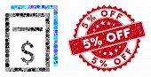 Collage Price Copy Page And Distressed Stamp Seal With 5 Percent Off Phrase. Mosaic Vector Is Formed poster
