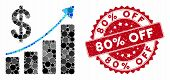 Mosaic Sales Growth And Distressed Stamp Seal With 80 Percent Off Phrase. Mosaic Vector Is Formed Wi poster