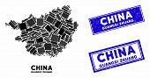 Mosaic Guangxi Zhuang Region Map And Rectangular Seal Stamps. Flat Vector Guangxi Zhuang Region Map  poster