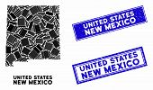 Mosaic New Mexico State Map And Rectangular Rubber Prints. Flat Vector New Mexico State Map Mosaic O poster