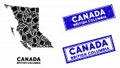 Mosaic British Columbia Province Map And Rectangle Seal Stamps. Flat Vector British Columbia Provinc poster