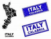 Mosaic Calabria Region Map And Rectangular Stamps. Flat Vector Calabria Region Map Mosaic Of Randomi poster