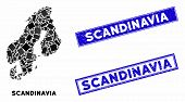 Mosaic Scandinavia Map And Rectangular Rubber Prints. Flat Vector Scandinavia Map Mosaic Of Scattere poster