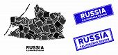 Mosaic Kaliningrad Region Map And Rectangular Rubber Prints. Flat Vector Kaliningrad Region Map Mosa poster