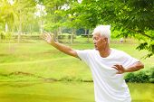 stock photo of tai-chi  - Asian senior man practicing tai chi in the park - JPG