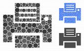 Print Mosaic Of Round Dots In Different Sizes And Shades, Based On Print Icon. Vector Round Dots Are poster