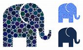Elephant Mosaic Of Small Circles In Variable Sizes And Color Tinges, Based On Elephant Icon. Vector  poster