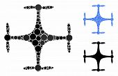 Copter Mosaic Of Circle Elements In Various Sizes And Shades, Based On Copter Icon. Vector Filled Ci poster