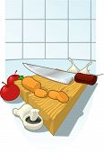 pic of cutting board  - A wooden chopping board with a French Chef - JPG