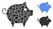 Piggy Mosaic Of Small Circles In Different Sizes And Color Tinges, Based On Piggy Icon. Vector Small poster