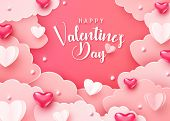 Happy Valentines Day Greeting Background In Papercut Realistic Style. Paper Clouds Hearts And Realis poster