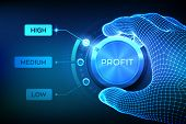 Profit Levels Knob Button. Increasing Profit Level. Wireframe Hand Setting Profit Button On Highest  poster