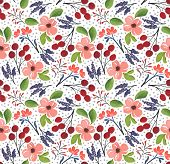 Seamless Watercolor Flower. Textile Design. Textile Print. poster