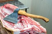 Large Ax For Chopping Meat, Meat Carcass. Close Up. Large Piece Of Meat . poster