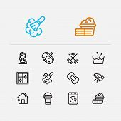 Hygiene Icons Set. Cleaning Service And Hygiene Icons With Cleaning Maid, Soap And Dust Cleaning. Se poster