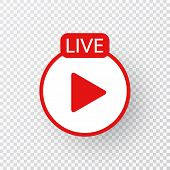 Live Icon. Live Stream, Streaming, Video, News Symbol On Transparent Background. Social Media Templa poster