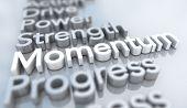 Momentum Strength Progress Toward Goal Words 3d Illustration poster