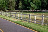 Asphalt Road With Yellow Markings On The Side Of The Road A Wooden Fence A Barrier For Artiodactyl A poster