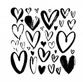 Heart Sketch Collection. Hand Drawn Rough Brush Hearts Isolated On White Background. Graffiti Style  poster