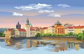 Colorful Vector Illustration Of Prague Old City Panorama With River Vltava. Landmark Of Prague, Czec poster