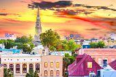 Charleston, South Carolina, USA town skyline at dusk. poster