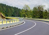 foto of twisty  - Asphalt twisty mountain road in hills in Slovakia - JPG