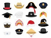 Carnival Costumes Hats. Fashion Hat Clothes Accessory Collectiorn, Vintage Police Sheriff And Tradit poster