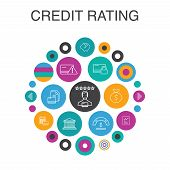 Credit Rating Infographic Circle Concept. Smart Ui Elements Credit Risk, Credit Score, Bankruptcy, A poster