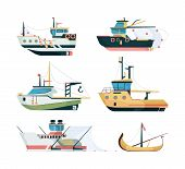 Fishing Boats. Marine Sailing Transport For Fishing Big And Small Ships Vector Flat Style. Illustrat poster