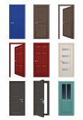 Realistic Doors. Room Entrance Open And Closed Doors Interior Home Apartment Vector Illustrations. D poster