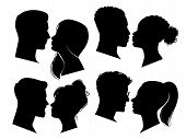 Couple Heads In Profile. Man And Woman Silhouettes, Black Outline Face To Face Anonymous Profiles. A poster