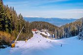 Bansko, Bulgaria Ski Resort Panoramic View With Mountain Peaks, Pine Trees, Ski Slope, Restaurants A poster