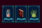 Game Asset Pack. Fantasy Card With Magic Items. User Interface Design Elements With Decorative Frame poster