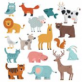 Cute Animals. Tiger, Owl And Bear, Elephant And Lion, Llama And Deer, Hare And Dog, Squirrel Wild An poster