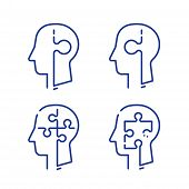 Human Head Profile And Jigsaw Puzzle, Cognitive Psychology Or Psychotherapy Concept, Mental Health,  poster