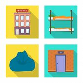 Vector Illustration Of Tourism And Motel Logo. Collection Of Tourism And Accommodation Vector Icon F poster