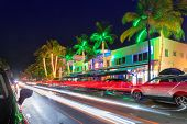 Night View Of Ocean Drive In Miami Beach, Florida - Hotels And Restaurants At Sunset On Ocean Drive, poster