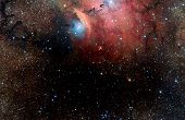 Stars, dust and gas nebula in a far galaxy space background. Stellar nursery. The infinite universe poster