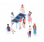 Flea Market Flat Vector Illustration. People Buying Designer Jewelry And Bijouterie, Handmade Access poster