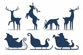 Santa Claus In Sleigh And Running Deer. Christmas Character With Gift poster
