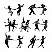 Rock N Roll And Jazz Dancing Couples Set. Swing Dancing Silhouettes. People In 1940s And 1950s Style poster