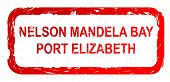 pic of nelson mandela  - Used red Nelson Mandela Bay and Port Elizabeth city travel passport stamp - JPG