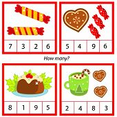 Counting Educational Children Game. Study Math, Numbers, Addition. Christmas Theme Kids Mathematics  poster