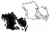 Region Of Southern Denmark (kingdom Of Denmark) Map Vector Illustration, Scribble Sketch Syddanmark  poster