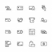 Banking Credit Cards, Atm Outline Icons Set - Black Symbol On White Background. Banking Credit Cards poster