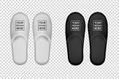 Vector Realistic White And Black Detailed Hotel Slippers Icon Set Closeup Isolated On White Backgrou poster