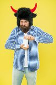 Health Is Important. Hipster Open Pill Bottle Yellow Background. Bearded Man With Medicine Pills Or  poster