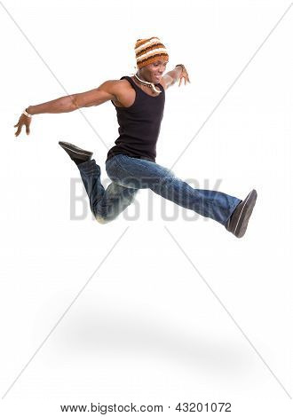 Portrait of young cheerful african man jumping