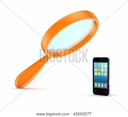 Orange loupe and mobile phone.