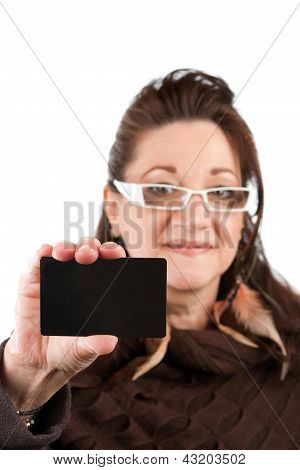 Woman Showing Gift Card